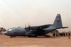 Bamako–Sénou International Airport - ECOMOG troops boarding USAF C-130, February 1997