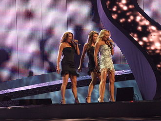 "Sweden in the Eurovision Song Contest 2008 - Charlotte Perrelli and backup singers performing ""Hero"" at the 2nd semi-final of the Eurovision Song Contest 2008."