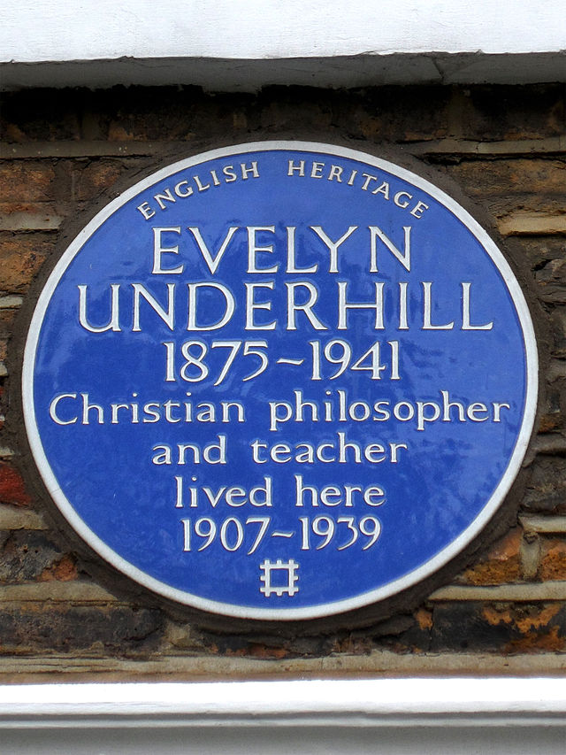 Evelyn Underhill blue plaque - Evelyn Underhill 1875-1941 Christian philosopher and teacher lived here 1907-1939