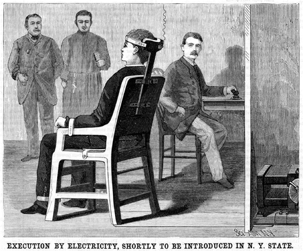 A June 30, 1888 Scientific American illustration of what the electric chair suggested by the Gerry Commission might look like. EXECUTION BY ELECTRICITY electric chair illustration Scientific American Volumes 58-59 June 30 1888.png