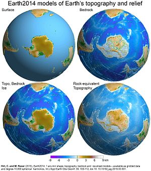 Global Relief Model - Four different topography layers of the Earth2014 model. Clockwise from top left: (1) Earth's surface, (2) bedrock, (3) rock-equivalent topography, (4) bathymetry and ice surface