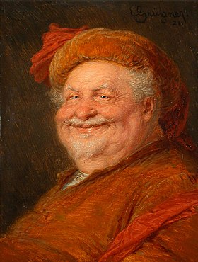 Sir John Falstaff peint par Eduard von Grützner (huile sur toile, 1921)