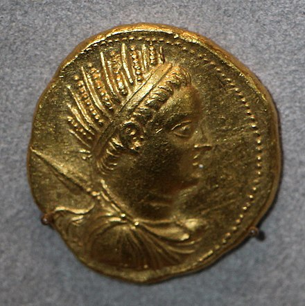 Octodrachm of Ptolemy V, wearing the diadem and chlamys of a Hellenistic king, as well as a crown of wheat. Egitto tolemaico, tolomeo V, octodracma di alessandria, 204-203 ac ca.JPG