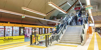 Line B (Buenos Aires Underground) - Eidan 500 train at Juan Manuel de Rosas station.
