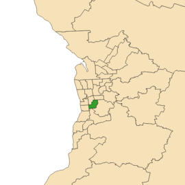Map of Adelaide, South Australia with electoral district of Elder highlighted