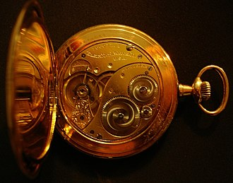 Elgin National Watch Company - Image: Elgin watch back opened
