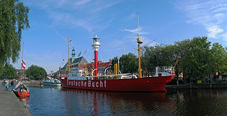 Emden - Retired light vessel Amrumbank in front of Emden city hall.