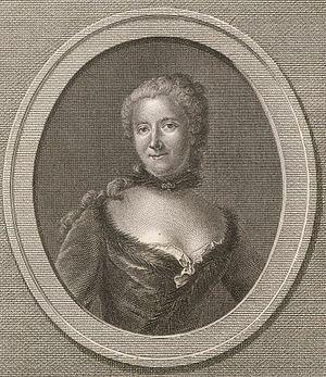 Marianne Loir - Portrait of Emilie du Châtelet (1706–1749) – print by Rémi-Henri-Joseph Delvaux (c.1748–1823) After Marianne Loir
