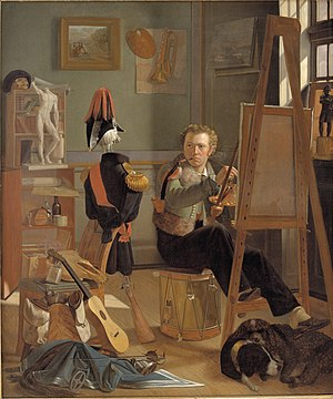 A Young Artist (Ditlev Blunck) Examining a Sketch in a Mirror - Ditlev Blunck, A bataillemaler, Jørgen Sonne (1801-90) in his study from 1824-1827, NationalStatens Museum for Kunst