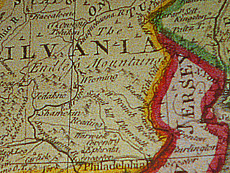 Endless Mountains - 1756 map showing the Endleſs Mountains, on display at the Smithsonian Institution's National Museum of American History