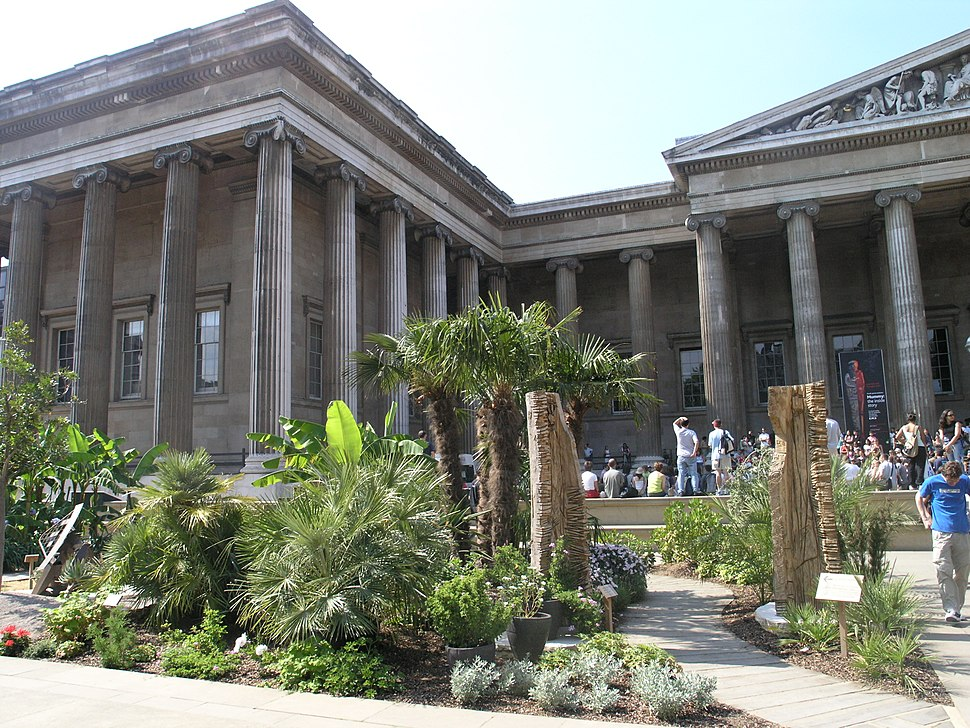 England; London - The British Museum, Facade South Front ~ -Main Entrance + West Wing- Colonnade + The Africa Garden.2