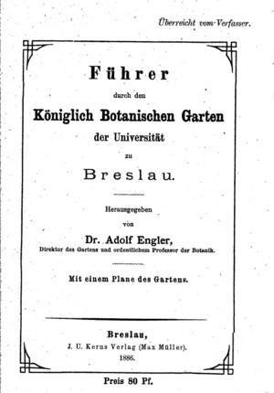Engler system - Front cover: Führer durch den Königlich botanischen Garten, 1886