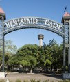 Entrance sign to HemisFair Park in downtown San Antonio, Texas LCCN2014632003.tif