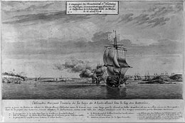 From the left, a coastal town set in the background of a harbor; in the foreground center-right in the approach to the harbor and curving into the right background, a line of French warships, one firing a broadside at the town.