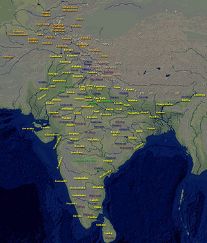 "Map of ""Bharatvarsha"" (Kingdom of India) during the time of Mahabharata and Ramayana. (Title and location names are in English.)"