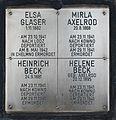 Erinnerungsstein für Mirla Axelrod, Heinrich und Helene Beck, Elsa Glaser.JPG