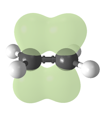 Alkene - Ethylene (ethene), showing the pi bond in green.