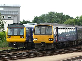 Pacer (train) - Image: Exeter St Davids FGW 142064 and 143611