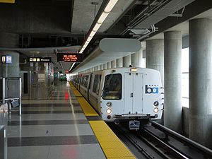 Bay Area Rapid Transit - A C1 train at San Francisco International Airport station