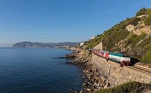 Thello -  E 444 084 hauls a Thello Eurocity along the Ligurian Coast