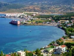 General view of Karaburun town center along Bodrum Cove