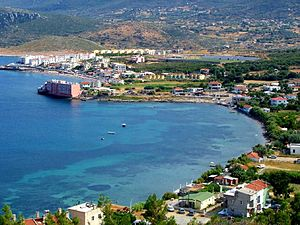 Karaburun - General view of Karaburun town center along Bodrum Cove