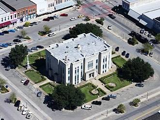 Fannin County Courthouse (Texas) - Aerial view of Fannin County Courthouse