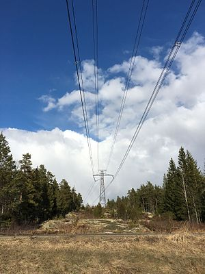 Fenno–Skan - Fenno-Skan HVDC power line, running over Turku-Pori route in Finland. Unlike in 3-phase AC power transfer, only two wires instead of three are required (in addition to the lightning protection wires, which serve as electrode line).