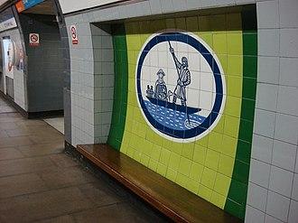 Edward Bawden - Bawden's Ferry across the River Lea tile at Tottenham Hale