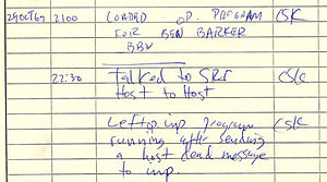 ARPANET - Historical document: First ARPANET IMP log: the first message ever sent via the ARPANET, 10:30 pm, 29 October 1969. This IMP Log excerpt, kept at UCLA, describes setting up a message transmission from the UCLA SDS Sigma 7 Host computer to the SRI SDS 940 Host computer.