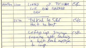 ARPANET - Historical document: First ARPANET IMP log: the first message ever sent via the ARPANET, 10:30 pm PST on 29 October 1969 (6:30 UTC on 30 October 1969). This IMP Log excerpt, kept at UCLA, describes setting up a message transmission from the UCLA SDS Sigma 7 Host computer to the SRI SDS 940 Host computer.