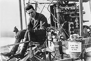 1909 in aviation - On November 4, 1909, as a joke to prove that pigs could fly, John Moore-Brabazon makes the first live cargo flight by airplane when he puts a small pig in a waste-paper basket tied to a wing-strut of his airplane.