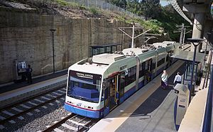Light rail in Sydney - A Sydney Light Rail service in 1997 at the then-new Fish Market station