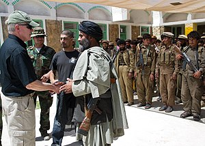 Afghan Local Police - US Secretary of the Navy Ray Mabus meets ALP officers in April 2012