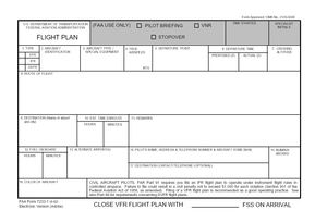 Flight plan - Standard FAA flight plan form