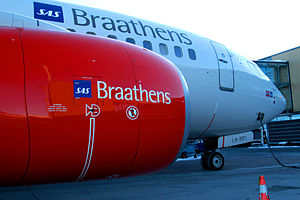 "SAS Braathens - Detail of the engine of the SAS Braathens aircraft LN-RRY ""Signe Viking"""