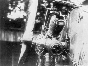 Fokker E.I - E.I with cowl removed, showing the Oberursel U.0 rotary engine and Stangensteuerung synchronizer's initial drive components
