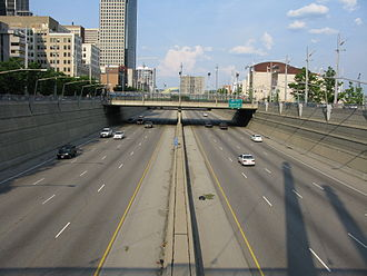 Interstate 71 - A section of the Fort Washington Way in Cincinnati