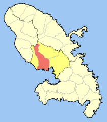 Location o the commune (in reid) within Martinique