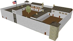 Fort Laramie National Historic Site - Fort John (Fort Laramie) was originally built of logs in 1841 then rebuilt in adobe in 1934. This digital reconstruction from a National Park Service/CyArk project is based on archaeological data, descriptions, and illustrations from the period when the Fort still stood. It shows the south and east facades of the high-walled Fort John, which as a private trading post was fortified to prevent theft rather than out of fear of an attack. Fort John fell into disuse following the military takeover of the Fort in 1849 and disappeared from records by 1860.