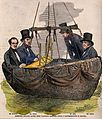 Four men in the basket of a balloon with some equipment. Woo Wellcome V0040890.jpg