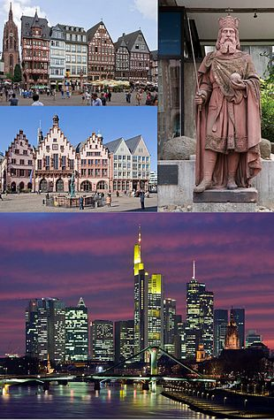 """Collage of Frankfurt, clockwise from top of left to right: Facade of the <a href=""""http://search.lycos.com/web/?_z=0&q=%22R%C3%B6mer%22"""">Römer</a> and <a href=""""http://search.lycos.com/web/?_z=0&q=%22Frankfurt%20Cathedral%22"""">Frankfurt Cathedral</a>, statue of <a href=""""http://search.lycos.com/web/?_z=0&q=%22Charlemagne%22"""">Charlemagne</a> in <a href=""""http://search.lycos.com/web/?_z=0&q=%22Historical%20Museum%2C%20Frankfurt%22"""">Frankfurt Historical Museum</a>, view of Frankfurt skyline and <a href=""""http://search.lycos.com/web/?_z=0&q=%22Main%20%28river%29%22"""">Main River</a>"""