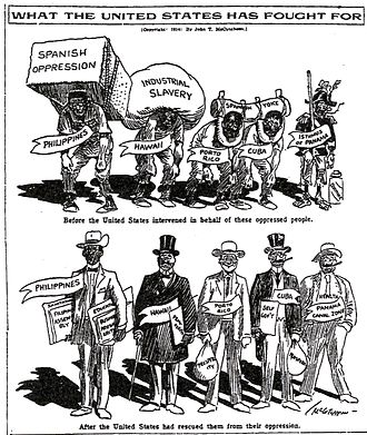 United States involvement in the Mexican Revolution - 1914 cartoon by John T. McCutcheon illustrates the United States liberated former Spanish colonies from their oppressor (Chicago Tribune 1914)