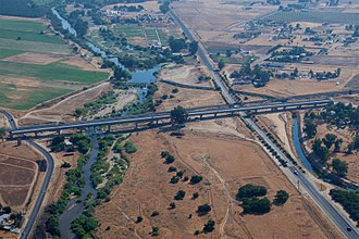 Fresno River Viaduct - Aerial view of the viaduct near completion in August 2017