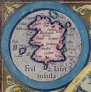 Mercator 1569 world map - Frisland, a phantom island (as represented on the 1595 Mercator atlas