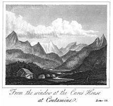 drawing of a mountain from a book published in 1827