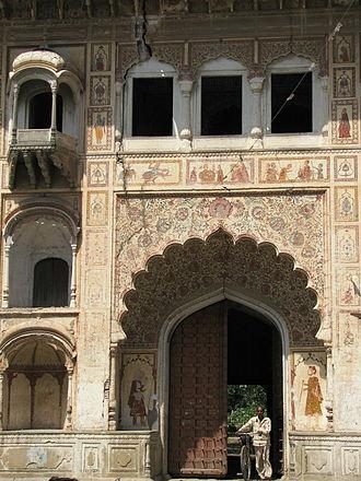 Kankhal - Front facade of Naya Udasin Akhara, Kankhal, with elaborate frescoes.