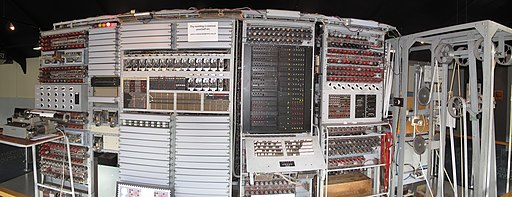Frontal view of the reconstructed Colossus at The National Museum of Computing, Bletchley Park