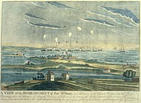 An artist's rendering of the bombardment of Fort McHenry in Baltimore, which inspired the composition of the Star Spangled Banner.