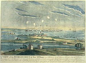 Bomb vessel - Bomb vessels attacking Fort McHenry during the Battle of Baltimore